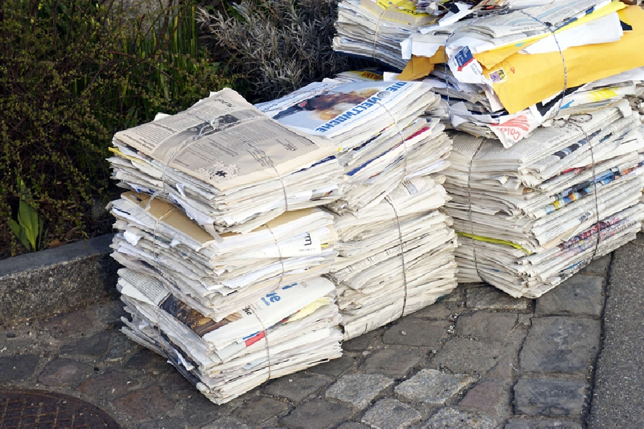 Newspapers ready to be recycled. Courtesy of Green Pencils Ltd